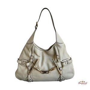 Authentic Gucci Ivory Leather 85th Anniversary Bridal Bit Medium Hobo Bag 163804