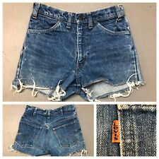 Vintage 1970s Levi's 646 Shorts Denim Blue Jean Cut Offs Orange Tab 70s 80s