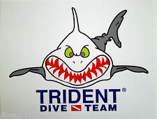 Scuba Diving Bumper Sticker Decal Angry Shark Trident Dive Team