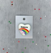 Rainbow & Hearts Fashion Pin Brooch Personalized MARILYN - Stocking Stuffer