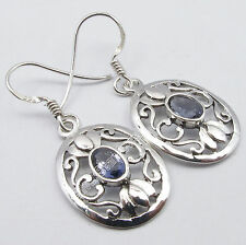 925 Sterling Pure Silver Rare IOLITE Gem EXTRA ORDINARY CELTIC Earrings 1.4 Inch