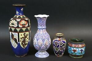 4x Vase Topf Messig emailliert Cloisonné bemalt großteils China 19./20.J.(CP556)