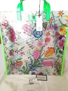 New Authentic Gucci Flora Vinyl Tote Fluorescent Green Leather Trim  Tote Bag
