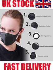3 x Breathable Mask Washable Face Mouth Masks BLACK Protection Filter UK SELLER