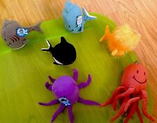 Lot Of 6 DEEP-SEA TOTS: Octo, Puffer Fish, Dolphins, Shark, Killer Whale, Squid