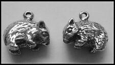 PEWTER CHARM #282 x 2 WOMBAT Wombats (13mm x 12mm) AUSSIE 3D design