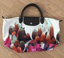 Auth LONGCHAMP Le Pliage Tribu Canvas Tote Bag Used 1x Feathers Floral Tulips