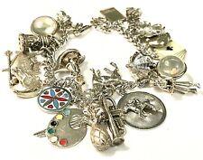Vintage Sterling Silver Charm Bracelet Bubble Charms Horses Enamels Figurals 71g