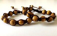 Shamballa Pine Wood 10 mm Bracelet Men's & Woman's  7.5 Inch Design by Susie
