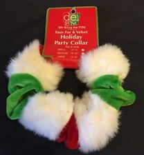 """Pet Christmas Scrunchy Collar Red White & Green Faux Fur S 10-14"""" NWT"""