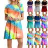 Summer Women Short Sleeve Tie-dye Print Short Dress Crew Neck Casual Loose Dress