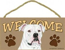 """Welcome Sign with American Bulldog with paw prints Wood Dog Sign 10""""x5"""" New B39"""