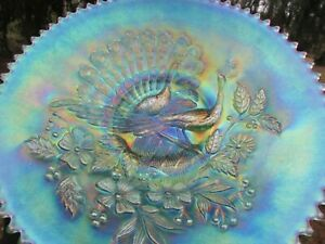 Northwood PEACOCKS ANTIQUE CARNIVAL GLASS PLAIN BACK PLATE~ICE GREEN~GORGEOUS!