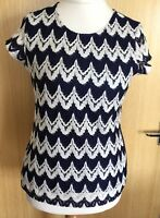 Dorothy Perkins Ladies Blouse Top 12 Crochet Lace Boho Navy Casual New  Summer