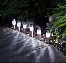 6 X SOLAR POWERED GARDEN LIGHTS POST PATIO OUTDOOR LED LIGHTING STAINLESS STEEL!