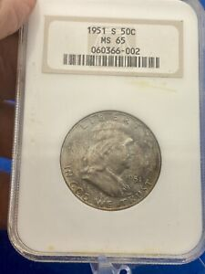 1951 S NGC  MS65 FRANKLIN HALF DOLLAR Gem 💎 BU Uncirculated Toned Beauty!!
