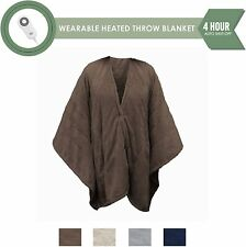 Serta Fleece Electric Heated Warming Snuggler Cape Wrap Chocolate