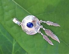 Pendant lapislazuli Disc Feather Indian Jewelery Native American