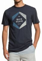 Quiksilver Mens T-Shirt Slate Gray Blue Size XL Hexa Logo Graphic Tee Crew 115