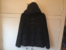 Girls Ladies Womans Black Tartan Patterned Duffle Jacket Coat & Hood Size 6 H&M