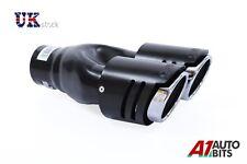 Universal Coche Doble Silenciador de tubo escape embellecedor Negro Mate L+R *