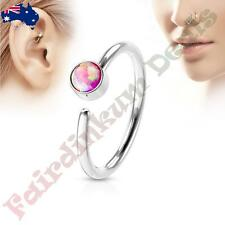 316L Surgical Steel Nose Hoop Ring with Pink Set Opal