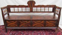 EARLY 19TH C ANTIQUE GRAIN PAINTED PINE HALL SETTLE BENCH ~~ FOLK ART PAINT