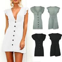 Damen Freizeit Kleid Minikleid Sommerkleid Strandkleid Tunika V-Ausschnitt BC469