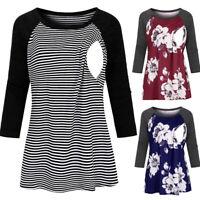 Women Maternity Nursing Casual Floral Stripe 3/4 Sleeve Tops Tee Shirt Blouse ED