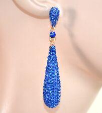 ORECCHINI donna ORO BLU cristalli eleganti strass pendenti oorbellen uhani E59