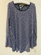 NWT Style & Co Petite Navy Blue Striped Tunic Blouse Top Size Petite Large