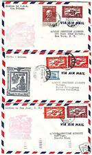 3 x PORTUGAL FIRST FLIGHT COVERS > USA, BOLAMA & P.RICO