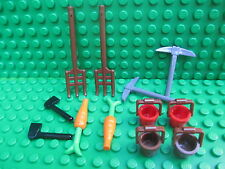 Lego Farm Spares Pitchfork Fork Pale Bucket Pick Axe Kingdoms Castle City Town