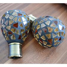 Brown & Gold Cut Glass Mosaic Finials Curtain Pole Ends 16 19 mm Decorative