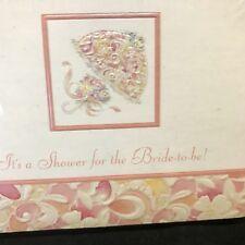 Beautiful Bridal Shower Invitations, Vtg Unopened Satin Look