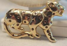 Gold Plated Leopard Pin or Brooch with Amber Color Enamel Spots