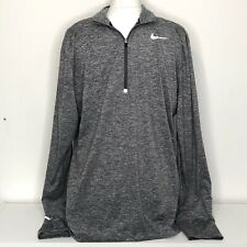 Nike Dri-fit Long Sleeve Grey Running Exercise Top Quarter Zip - Size Large L