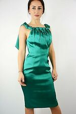 NEW EX DESIGNER GREEN PINTUCK SATIN OCCASION PARTY PENCIL DRESS SIZE 10 RRP £175