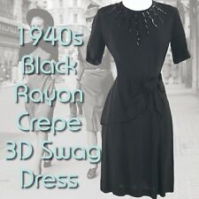 Vintage 1940s Black Rayon Crepe Swag Dress - 40s Black Dress