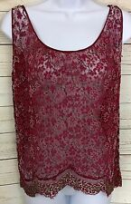 Vintage Antique Red Floral Beaded Lace Sheer Tank Top Camisole Size M or L ?