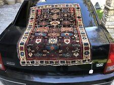 Auth:  19th C Antique Caucasian Rug  Rare Double Prayer Black Kuba 3x4 Beauty NR