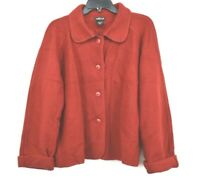 Willi Smith Womens Red Wool Hook & Button Front Jacket Straight Hem Size XL