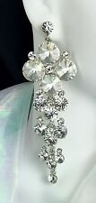 "Gorgeous! 3.75"" Long Clear Crystal Earrings, Drag Queen, Prom, Pageant, Bridal,"