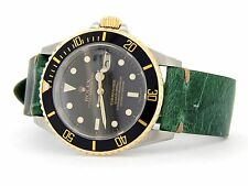 Rolex Submariner 18k Yellow Gold & Stainless Steel Watch Black Sub Green 16613