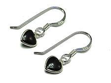 New Ladies Sterling Silver Blue Onyx Heart Drop Earrings 22mm 925 Hallmarked