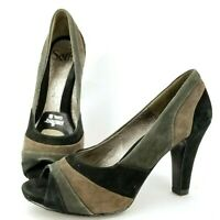 Sofft Suede Leather Peep Toe Pumps Women's 6.5 Black Green Brown