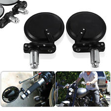 "Black Motorcycle 3"" Round 7/8"" Handle Bar End Rearview Mirrors For Honda Harley"