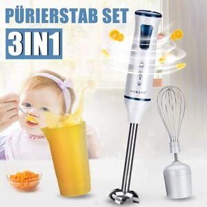 EU 3in1 1000W Electric Hand Blender Stick Food Mixer Grinder Fruit Whisk Egg