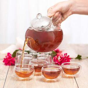 Moss & Stone 9 PCS Glass 28oz Tea Kettle Infuser Gift Set Borosilicate Glass Tea