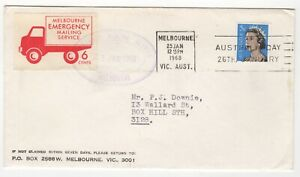 1968 Jan 25th. Emergency Mailing Service. Melbourne to Box Hill.